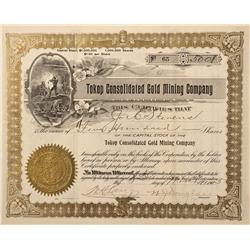 NV - Tokop,Esmeralda - 1905 - Tokop Consolidated Gold Mining Company Stock Certificate