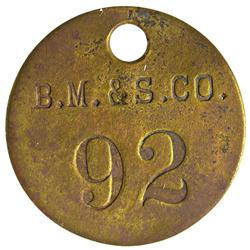 NV - Tonopah,Nye County - Belmont Mining & Smelter Token - Gil Schmidtmann Collection