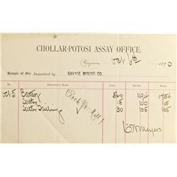 NV - Virginia City,Storey County - 1890 - Chollar-Potosi Assay Receipt