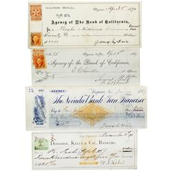 NV - Virginia City,Storey County - Four Bank Checks, two signed by James G. Fair