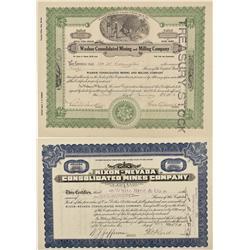 NV - Washoe County,1912, 1928 - Washoe County Area Mining Stocks - Fenske Collection