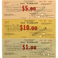 SC - Charleston,Charleston County - 1932 - Three Pay Warrants - Gil Schmidtmann Collection