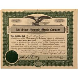 TX - El Paso County,1919 - Silver Mountain Metals Company Stock Certificate - Fenske Collection