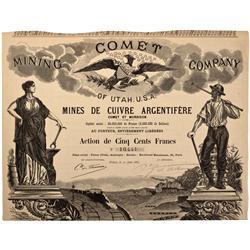 UT - 1883 - Comet Mining Company Stock Certificate - Fenske Collection