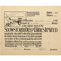 WA - March 10, 1911 - Snowstorm Deep Mines Limited Stock Certificate