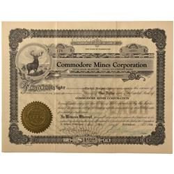 WA - Deer Trail District,Stevens County - 1928 - Commodore Mines Corporation Stock Certificate - Fen