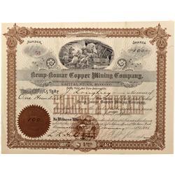 WA - Loon Lake,Stevens County - 1897 - Kemp-Komar Copper Mining Company Stock Certificate - Fenske C
