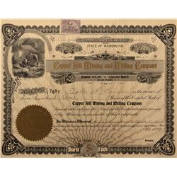 WA - Newport,Stevens County - 1899 - Copper Hill Mining and Milling Company Stock Certificate - Fens