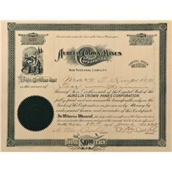 WA - Railroad Creek District,Chelan County - 1908 - Aurelia Crown Mines Corporation Stock Certificat