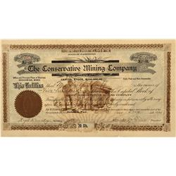 WA - Snohomish,Dec. 3, 1901 - The Conservative Mining Company Stock Certificate - Fenske Collection