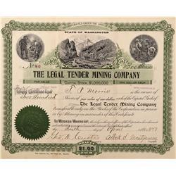 WA - Springdale District,Stevens County - 1896 - Legal Tender Mining Company Stock Certificate - Fen