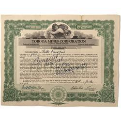 WA - Toroda,Ferry County - 1924 - Toroda Mines Corporation Stock Certificate - Fenske Collection