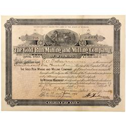WY - 1898 - Gold Run Mining and Milling Company Stock Certificate - Fenske Collection
