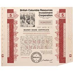 Canada, British Columbia,1979 - British Columbia Resources Investment Corporation Stock