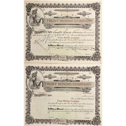 Canada, British Columbia,1898 - Trust Mining Company Stock Certificate - Fenske Collection