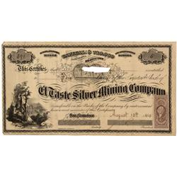 Mexico, Sonora,August 12, 1864 - El Taste Silver Mining Company, Stock and Receipt