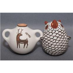 ACOMA POTTERY OWL AND CANTEEN