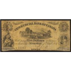 1857 Commercial Bank of Canada $5