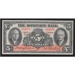 1935 Dominion Bank $5