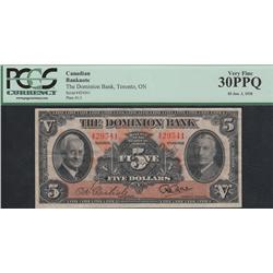1938 Dominion Bank $5