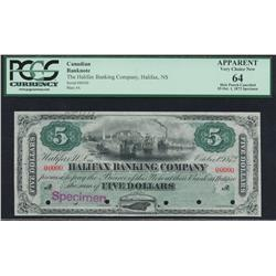 1872 Halifax Banking Company $5 Specimen