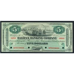 1880 Halifax Banking Company $5 Specimen