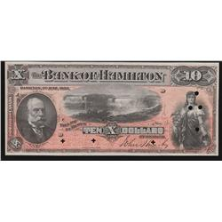 1892 Bank of Hamilton $10 Specimen