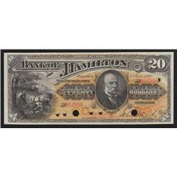 1892 Bank of Hamilton $20