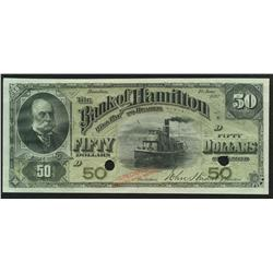 1892 Bank of Hamilton $50 Specimen