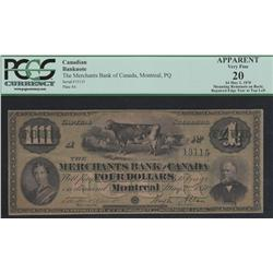 1870 Merchants Bank of Canada $4