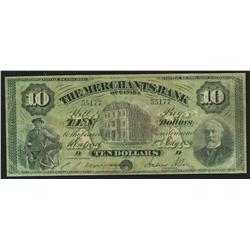 1886 Merchants Bank $10