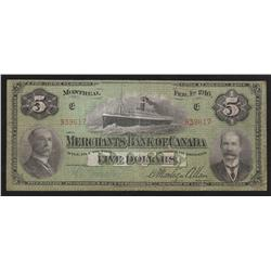 1916 Merchants Bank of Canada $5