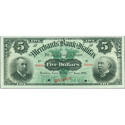 1896 Merchants Bank of Halifax $5