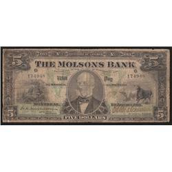 1912 Molsons Bank $5