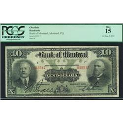 1912 Bank of Montreal $10