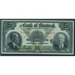 1923 Bank of Montreal $5