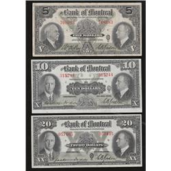 Lot of 3 1935 Bank of Montreal $5, $10, and $20