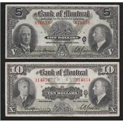 Lot of Two 1938 Bank of Montreal $5 and $10