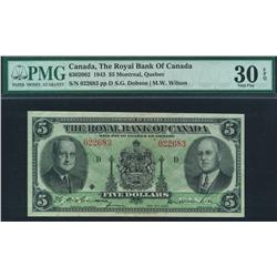 1943 Royal Bank of Canada $5