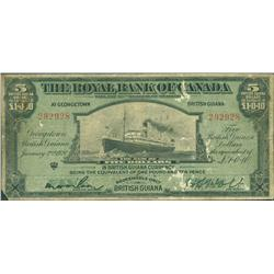 1920 Royal Bank of Canada $5, British Guiana