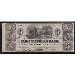 1852 St. Stephen's Bank $5