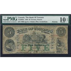 1880 Bank of Toronto $5