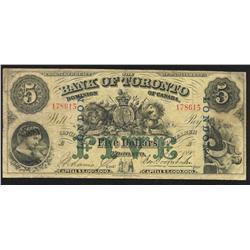 1890 Bank of Toronto $5