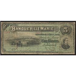 1889 Banque Ville-Marie $5