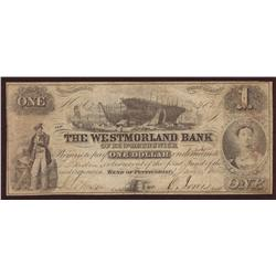 1854 Westmorland Bank of New Brunswick $1