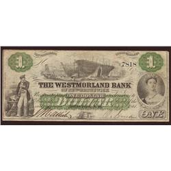 1861 Westmorland Bank of New Brunswick $1