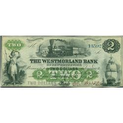 1861 Westmorland Bank of New Brunswick $2