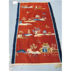 Chinese handmade deco rug with houses