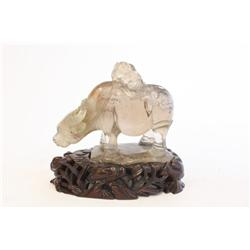 Finely carved crystal of  Boy & Buffalo
