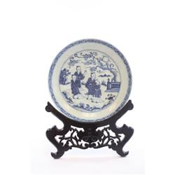Xuande blue & white porcelain dish of  Figures